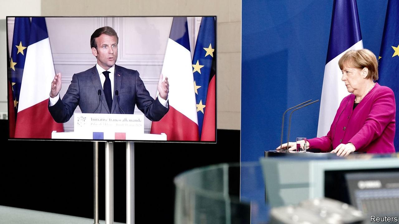 Angela Merkel und Emmanuel Macron bei der Vorstellung ihres Wiederaufbaufonds-Vorschlags. 2020
